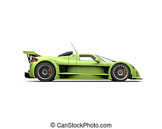Lime green supercar - side view