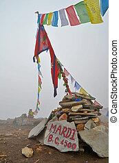 Mardi Himal Base Camp in Nepal, Annapurna region. Prayer...