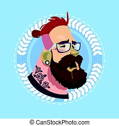 Profile Icon Male Emotion Avatar, Hipster Man Cartoon Portrait Feeling Sick Face