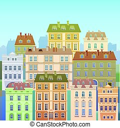 Cartoon Houses Buildings Old Town View Banner Skyline Flat...