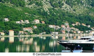 Sailboat near the old town of Kotor, Bay of Kotor,...