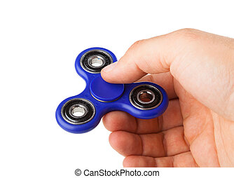 Playing with a blue Fidget Spinner isolated on white...