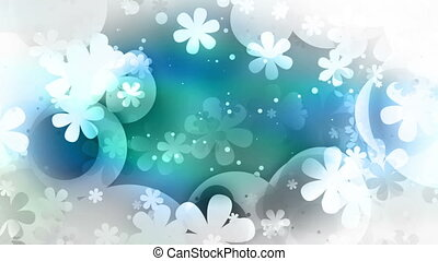 Retro flowers in black white and blue looping CG animated...