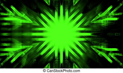 Black and green geometric abstract animated high tech CG...