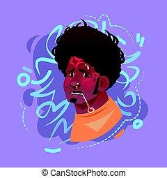 Profile Icon Male Emotion Avatar, Hipster Man Cartoon Portrait Feeling Sick Fever Face