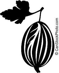 Gooseberry and leaf image - Vector illustrations of...