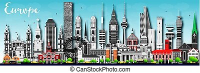 Europe skyline silhouette with different landmarks.