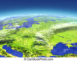 Eastern Europe from space. 3D illustration with detailed...