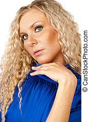 Blonde in blue