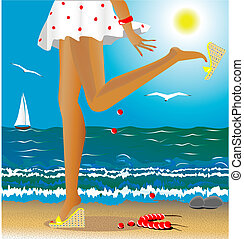 seasons: summer - sea, summer, beach, beautiful female legs...