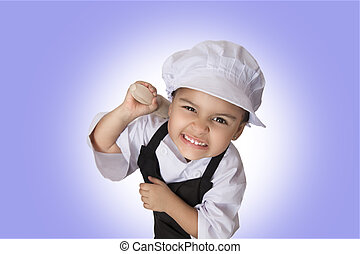Four years chef girl - Portrait of a funny chef four years...