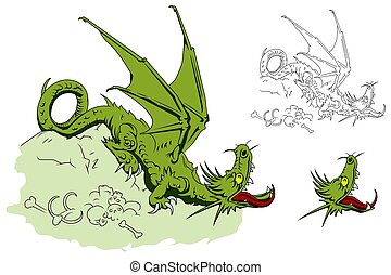 Dragon on a pile of bones. Stock illustration. - Stock...