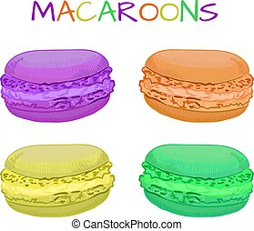 Hand-drawn VECTOR illustration of macaroons. Purple, orange, yellow, green.