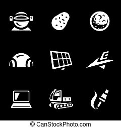Vector Set of Mars Exploration Icons. - Cosmonaut, potato,...