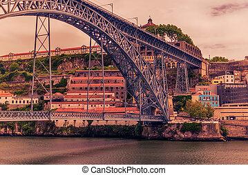 Porto, Portugal: the Dom Luis I Bridge and the Serra do...