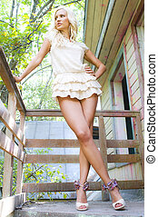 Blonde on the porch