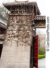 gate on embankment Yi river to Longmen Grottoes - travel to...