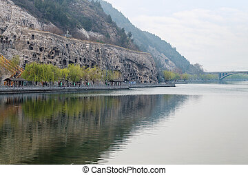 view of Yi river and West Hill in Longmen Caves - travel to...