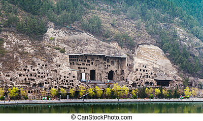 many caves on West Hill in Longmen Grottoes - travel to...