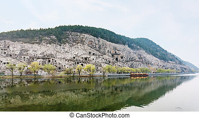 panoramic view of West Hill with caves - travel to China -...