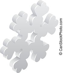 Snowflake Weather Icon Concept - A 3d snowflake isometric...