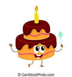 Birthday party cake character with smiling human face and candle