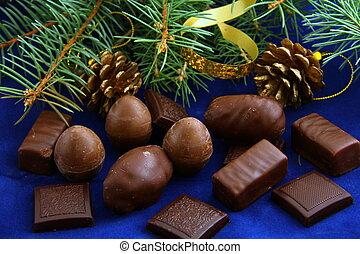 Chocolates for Christmas a green Christmas tree