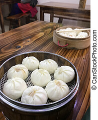 portion of chinese baozi in cheap eatery