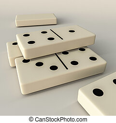 domino - 3d illustration of domino pieces isolated on white...