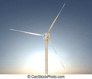 wind turbine - 3d illustration of a modern wind turbine