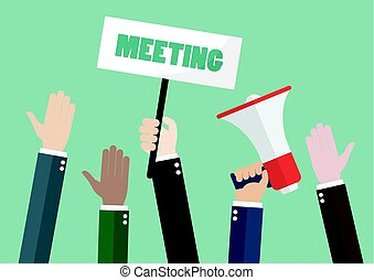 People attending meeting. Vector illustration