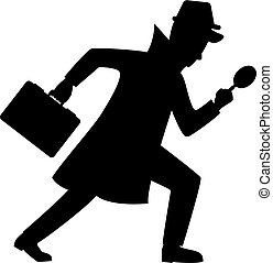 Silhouette of detective character design. Vector...