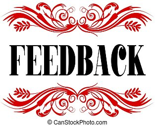 FEEDBACK red floral text frame.