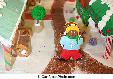 Gingerbread girl in candy village - Gingerbread cookie girl...