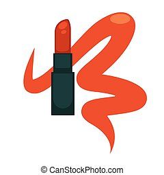 Lipstick woman makeup cosmetics vector isolated flat icon -...