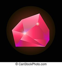 Sparkling crystal in pink color isolated on black background...