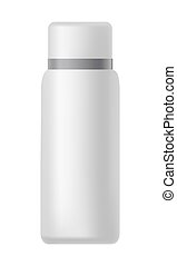 White bottle with silver line on cover isolated illustration