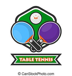 Table tennis colorful logotype with crossed rackets and ball