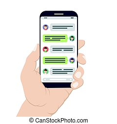 Chatting and messaging on mobile phone. Hand holding a smartphone with opened messenger app window. Social network concept. Vector illustration isolated on white background