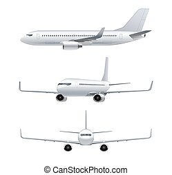 Flying airplane, jet aircraft, airliner. Front, side, 3d...