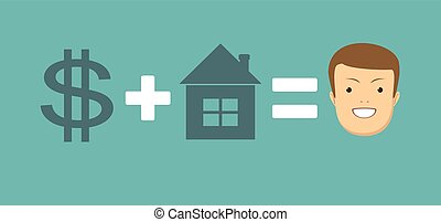 concept of money and home brings you happiness. Stock vector...