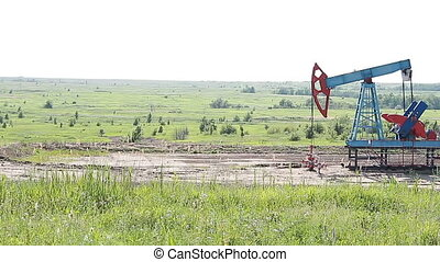 Oil and gas industry. Work of oil pump jack