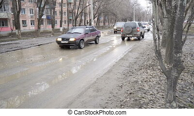 Bad roads in the city - Volgograd, Russian Federation –...