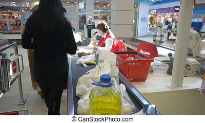 People shopping in hypermarket . - Volgograd, Russian...