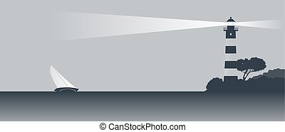 sail boat and lighthouse vector landscape