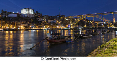 Porto or Oporto - Portugal - Night view of the city of...