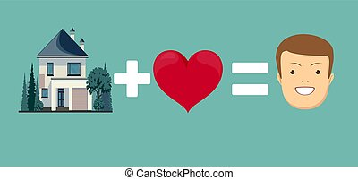 love and home brings you happiness. Stock vector...