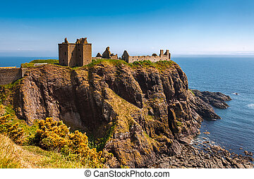 Dunnottar Castle with clear sky in Stonehaven, Aberdeen, Scotland