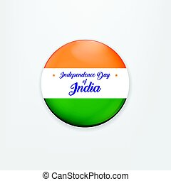 Made in India. illustration of banner and badge for colorful India. Indian Independence Day concept background with Ashoka wheel. Vector Illustration.