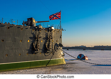 Linear cruiser Aurora, the symbol of the October revolution,...